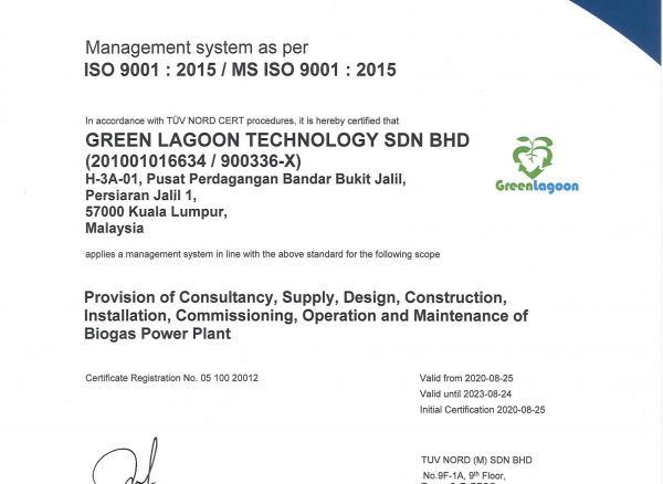 Green Lagoon Certificate QMS CA20 DSM